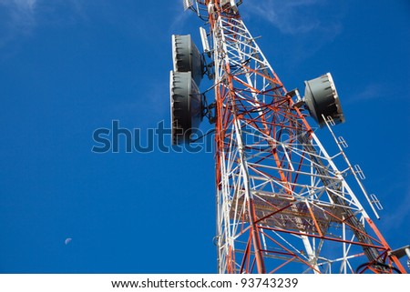 Signaling, cell phone antenna system. Large transmission poles.