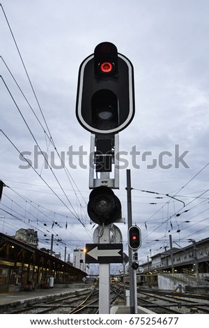 Signaling signal for trains in a station, detail of infomration for the traffic by rails, transport and travel #675254677