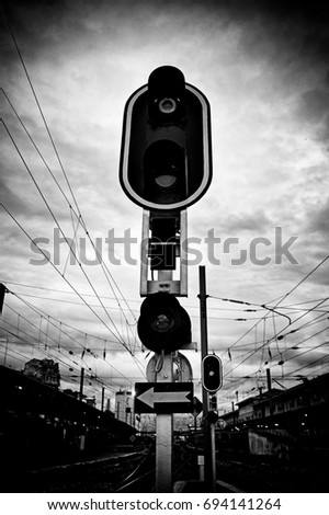 Signaling signal for trains in a station, detail of information for the traffic by rails, transport and travel #694141264
