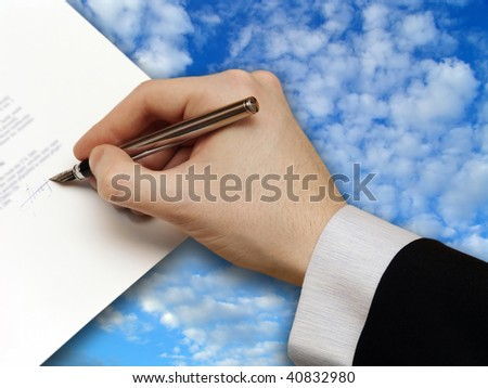 Signature of Business Contract on the blue Sky