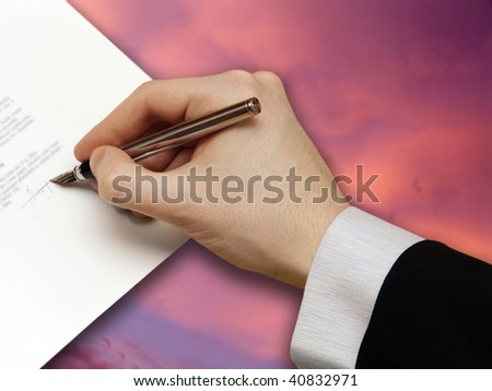 Signature of Business Contract on the red Sky