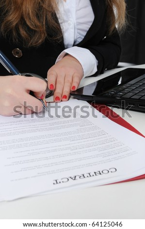 Signature of the contract. Isolated on white background