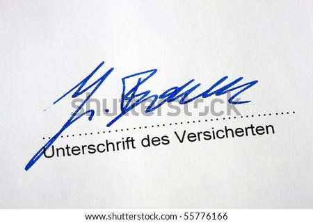 Signature of the insured under an insurance contract