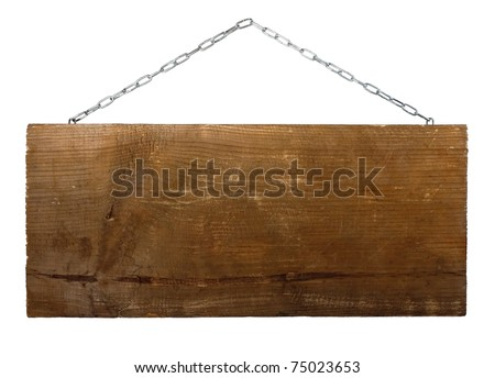 Signboard on chain isolated on white background