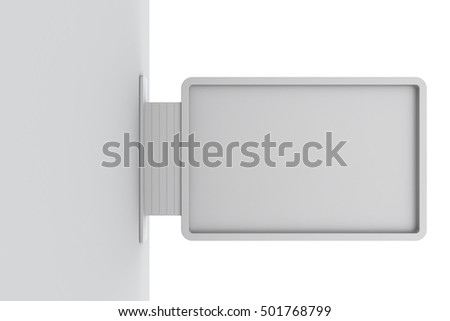 Signboard on wall. Isolated on white background. 3D rendering #501768799