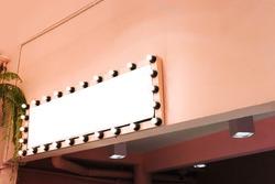 Signboard shop Mock up Square shape pink Vintage tones, copy space