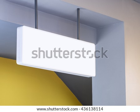Signboard shop White Mock up square shape display perspective