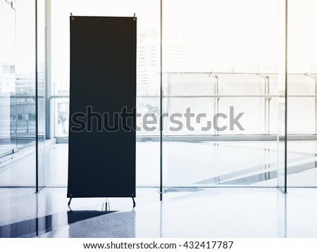 Signboard Stand Mock up Banner Black Template with Modern Interior Building #432417787