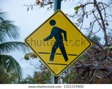 Signboard yellow Signs for Pedestrians in Symbol Warning Sign at Crosswalk for Safety Pedestrian Walk #1331559800