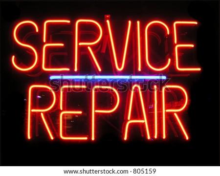 Signe de service et de réparation - stock photo