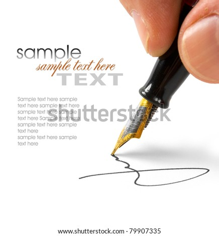 Signed Isolated on white background