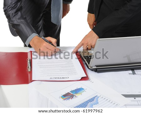 Signing the document partners. Isolated on white background