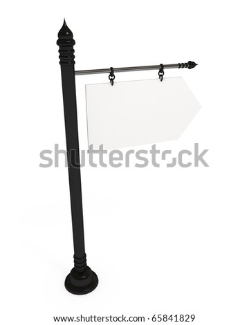 Signpost, blank board, isolated on white with clipping path, 3d illustration