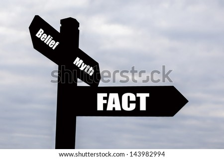 Signpost for scientific fact and truth over myth, belief and fiction.