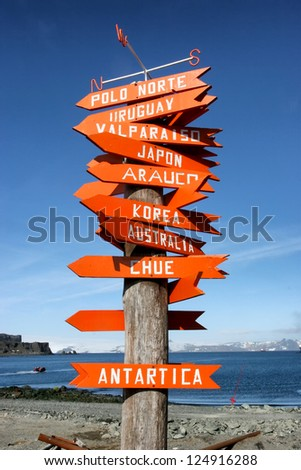 signpost in Antarctica with directions to other countries