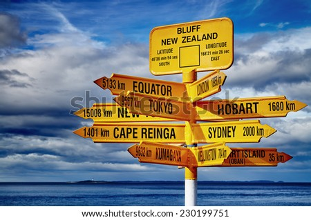 Signpost in the Stirling Point Bluff New Zealand Most southern mainland point of New Zealand