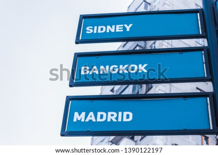 Signpost of the direction and distance to the capitals of the countries of the world