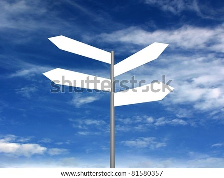 Signpost on beautiful background of blue sky. 3D render.