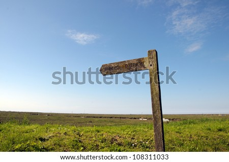 Signpost on North Norfolk coastal path