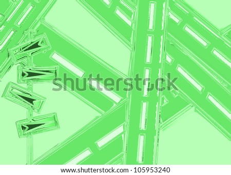 Signpost showing many directions at a crossroads on green - stock photo