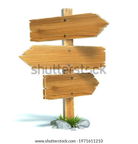 Signpost, signboard, guidepost, wooden road sign on crossroads 3d rendering Stock photo ©