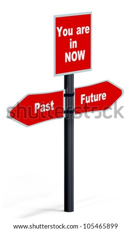 signpost with direction arrow of the past, present and future