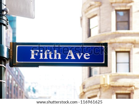 Signpost with Fifth Avenue in New York