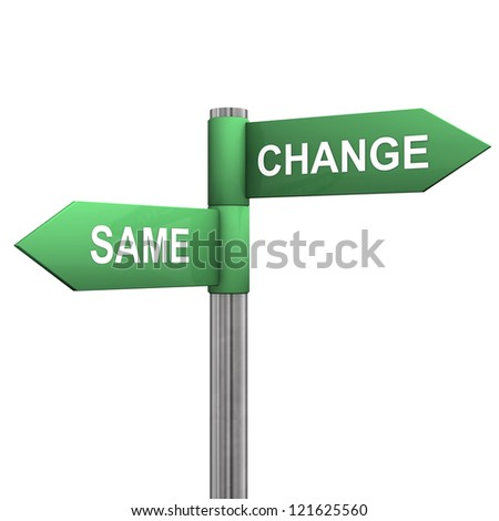 "Signpost with two directions with the text ""same"" and ""change""."