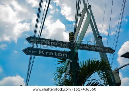 Signposts in the tourist area of Tugu Jogja