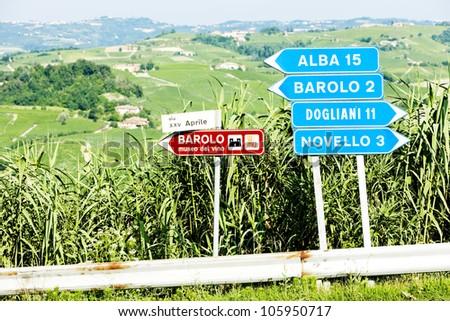 signposts near Barolo, Piedmont, Italy - stock photo