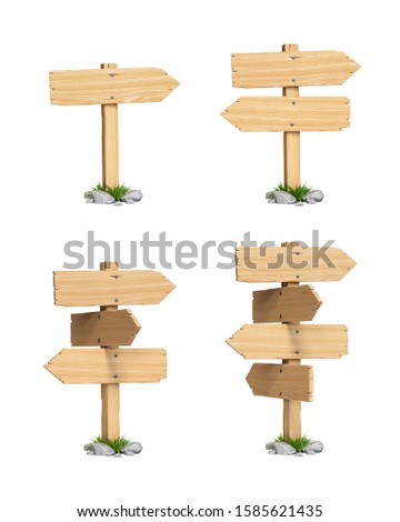 Signposts, signboards, guideposts, wooden road signs on crossroads 3d rendering