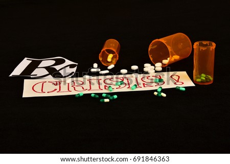 Signs and symbols of prescription painkiller addiction on black background. #691846363