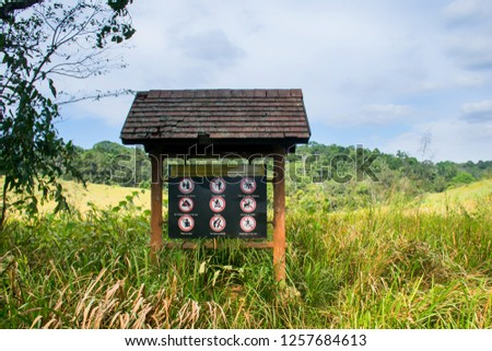 Signs and symbols.Signs prohibition in the national park.Thailand. #1257684613