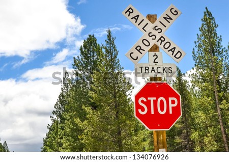 Signs at a Railway Crossing