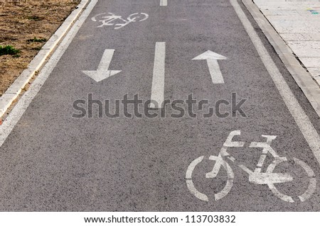 Signs for the bicycle track