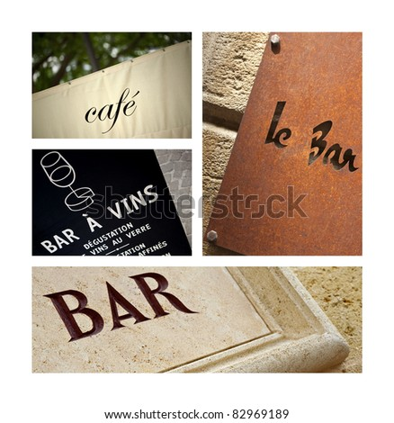 Signs of bars and cafes