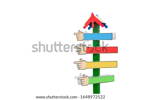 Signs of pointers in different directions in the form of a hand on a decorative background