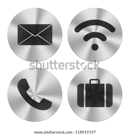 Signs on aluminum plates isolated on white.  Communication group icons