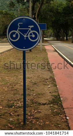 Signs or symbols for the bikes lane #1041841714