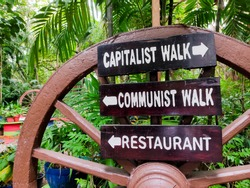 Signs saying: capitalist walk, communist walk and restaurant. Big wooden wheel in the background