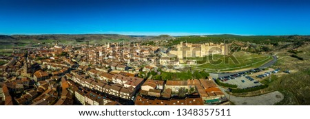 Siguenza aerial panorama of castle and town with blue sky in Spain #1348357511