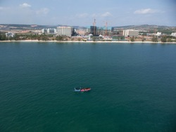 Sihanoukville, Cambodia, aerial shot in April 2019 during Otres beach hotels construction. Big resorts are being built over Otres beach coast, soon this area will completely change.