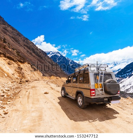 SIKKIM, INDIA - APRIL 17: Tourist jeep at Chopta Valley. It is located at 4000 metres above sea level, and offers a splendid view of Himalayan peaks on April17, 2012 in Sikkim, India