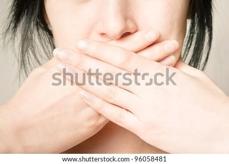silence girl - stock photo