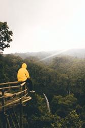 silence sitting above the height of the waterfall waterfall Ciparay waterfall Tasikmalaya Indonesia