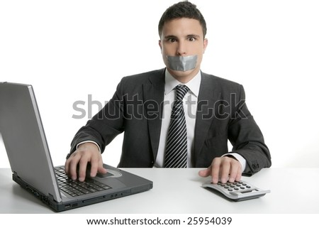 Silence with tape on mouth, businessman computer office isolated