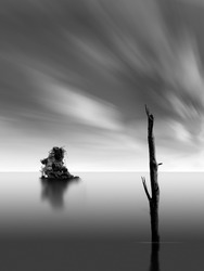 Silent beach in the black and white photography