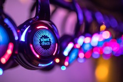 Silent Disco colorful headphones at event