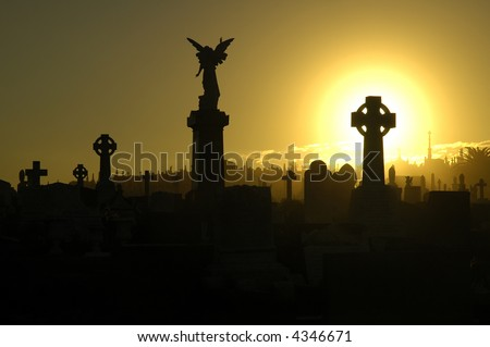 silent evening scene at an old cemetery, silhouettes of graves, crosses and statues, black and yellow dominant colors