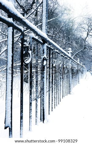 Silent snow-covered urban park in winter. Russia